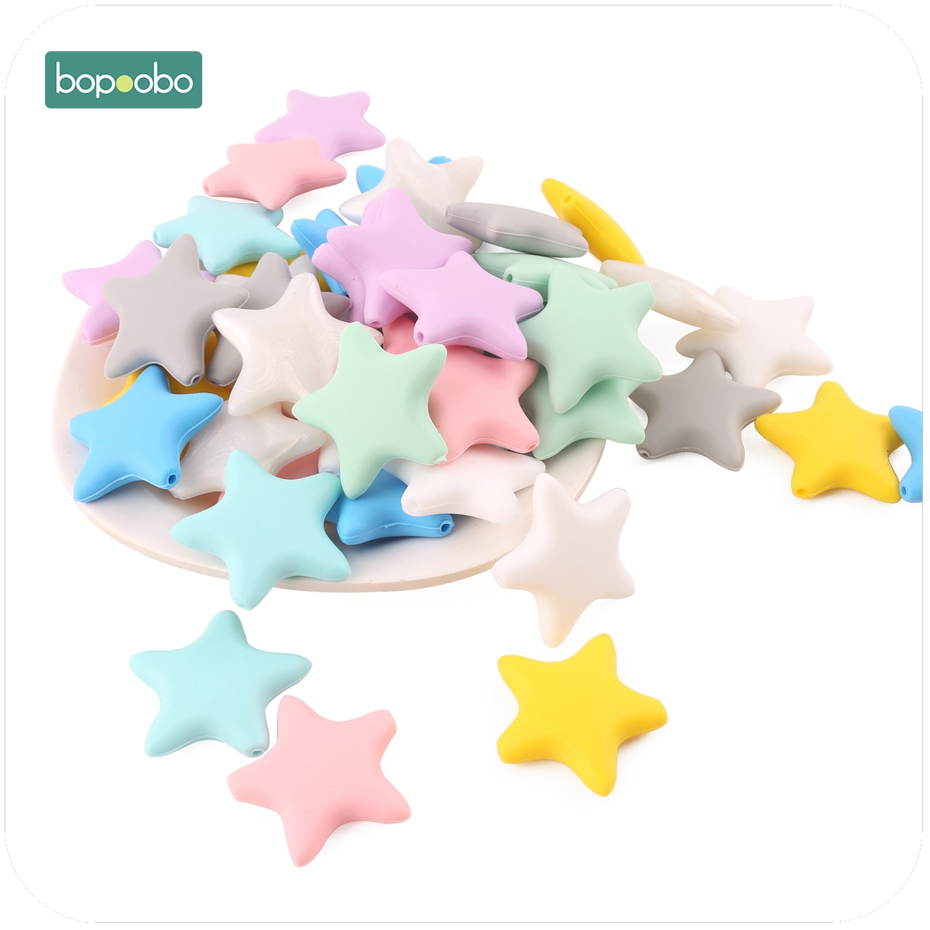 Bopoobo 3pc Silicone Stars Teethers Silicone Beads Nurse Gift Baby Products Food Silicone Rods Baby Teether Shower Gifts
