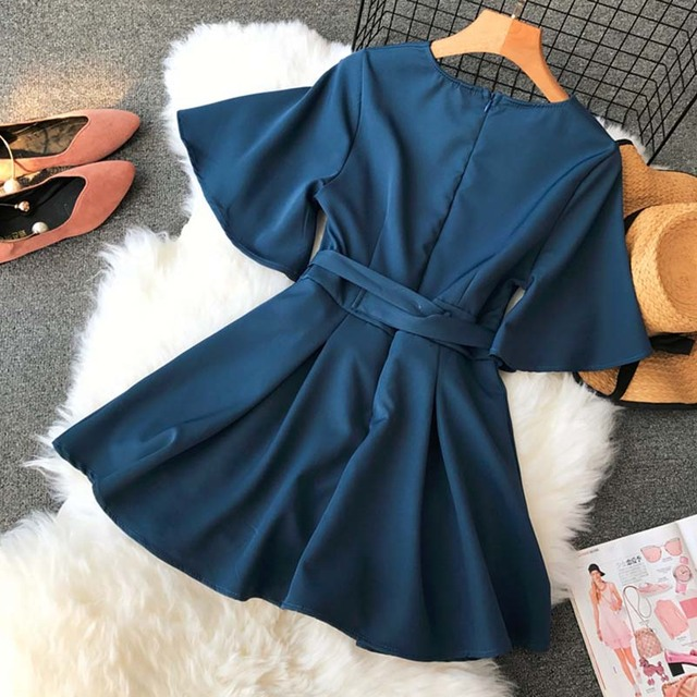 NiceMix Women's V neck flare sleeve solid color Playsuits Lady's Vintage Spring Summer Wide leg shorts Jumpsuits rompers new 2