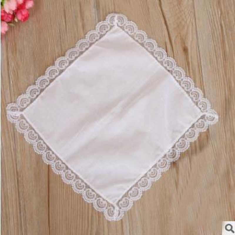 12pcs/lot Personalized white lace handkerchief, woman wedding gifts, wedding decoration cloth napkins 25*25cm