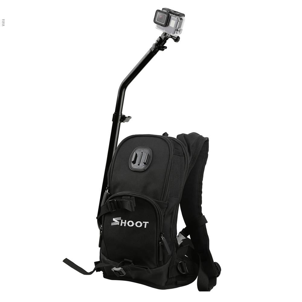 SHOOT Motorcycle Bicycle Selfie Backpack for GoPro Hero 5 6 4 Session Yi 4K SJCAM SJ4000 Camera Backpack with Cycling Pole Stick