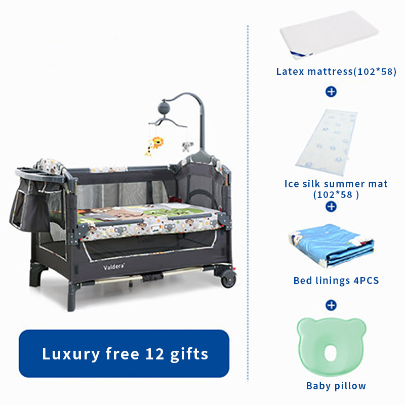 Valdera Deluxe Edition Portable Folding Crib Multifunction Baby BB Bed Splicing King Bed Cradle Bed 12 Pcs Free Gifts