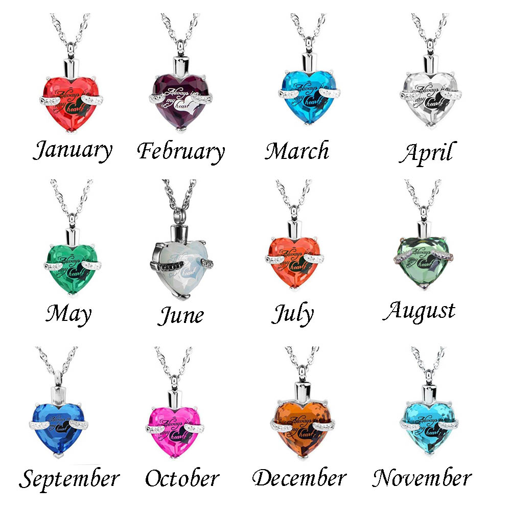 Glass Heart Urn Cremation Ashes Pendant Necklaces For ...