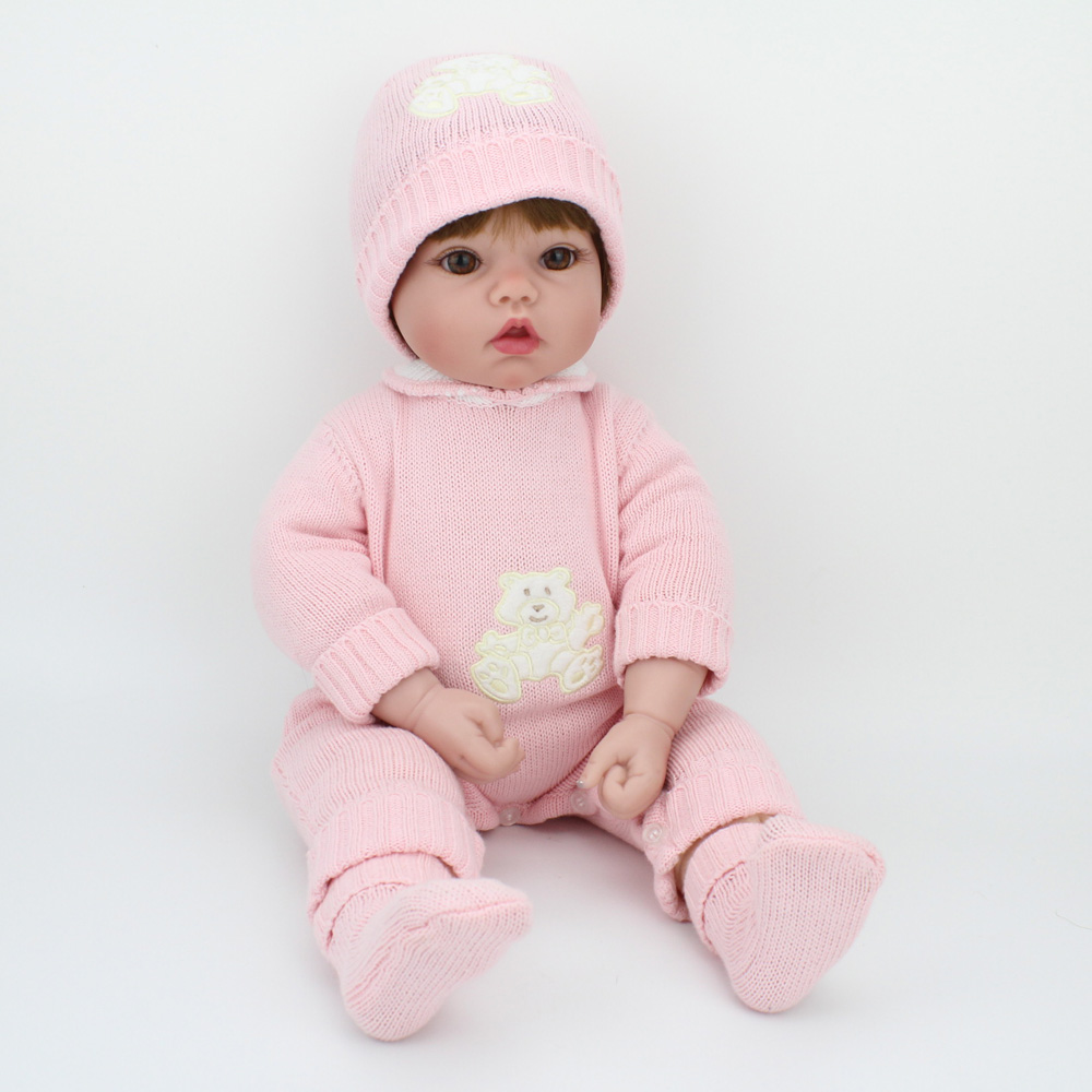 22inch Silicone Reborn Baby Dolls Alive Lifelike Brown Wig Real Dolls Bebe Realistic Reborn Babies Girl Toys Birthday Gift22inch Silicone Reborn Baby Dolls Alive Lifelike Brown Wig Real Dolls Bebe Realistic Reborn Babies Girl Toys Birthday Gift