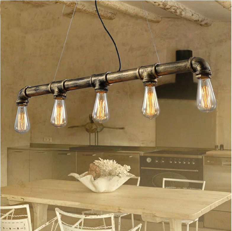 Edison Industrial Retro Vintage Metal Water Pipe Pendant Light Black Rusty Color Cafe Bar Coffee Shop Store 32cm vintage iron pendant light metal edison 3 light lighting fixture droplight cafe bar coffee shop hall store club