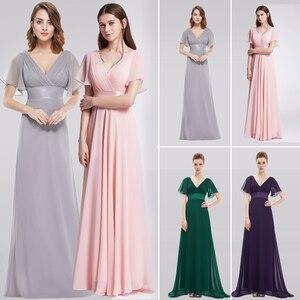 Image 1 - 紫色のイブニングドレスプラスサイズエレガントなaラインシフォンロングパーティードレスレディース安い特別な日のドレススリーブ