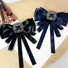 Korea Handmade Vintage Solid Satin Bowknot Rhinestone Shirt Pins Neck Bow Tie Accessories Fashion Jewelry-YHNLB021F