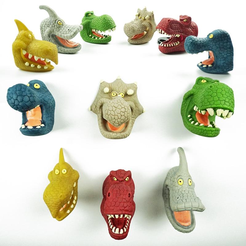 1 ensemble/6 pièces dinosaure marionnettes modèle Animal tête main marionnettes Silicone nouveauté histoire accessoire marionnettes Figure doigt éducatif