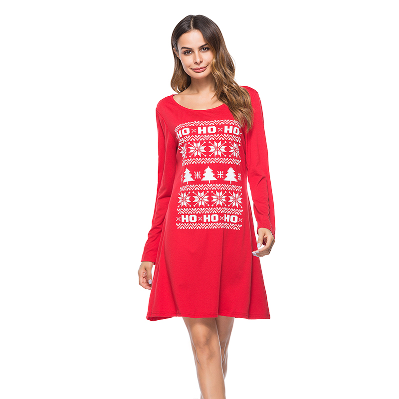 Bambooboy New arrived 2017 Christmas women printed dresses O-neck long sleeve dress red & black casual dressZL778