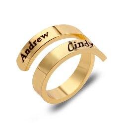 Spersonalizowany pierścień dostosuj grawerowane nazwy 3 kolory dostępne regulowane pierścienie dla kobiet biżuteria rocznicowa