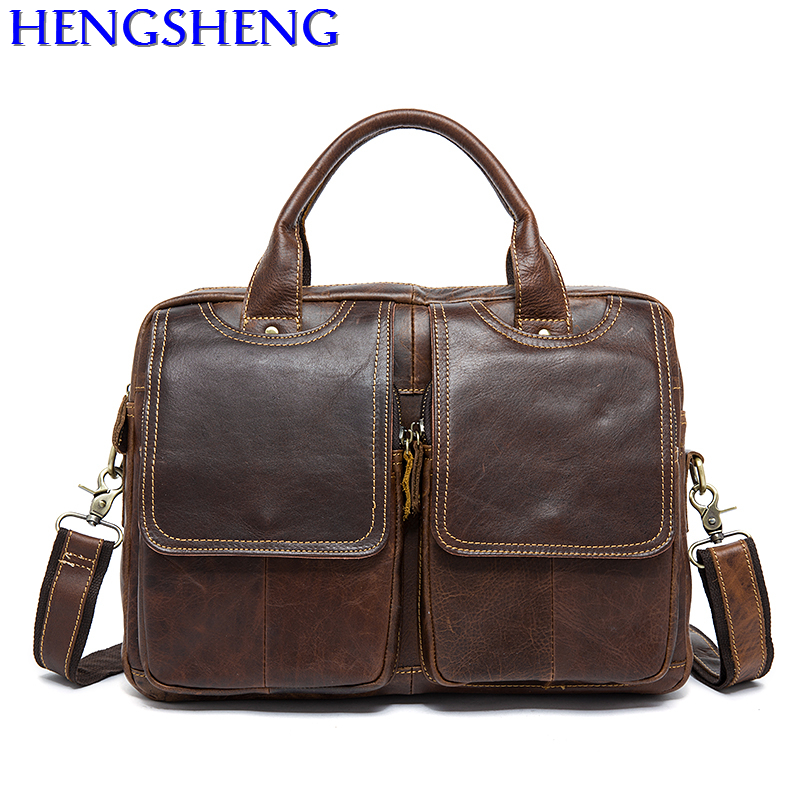 Free Shipping Four Colors Genuine Leather Men Briefcase With Top Quality Cow Leather Men Messengers Bags Men Briefcase