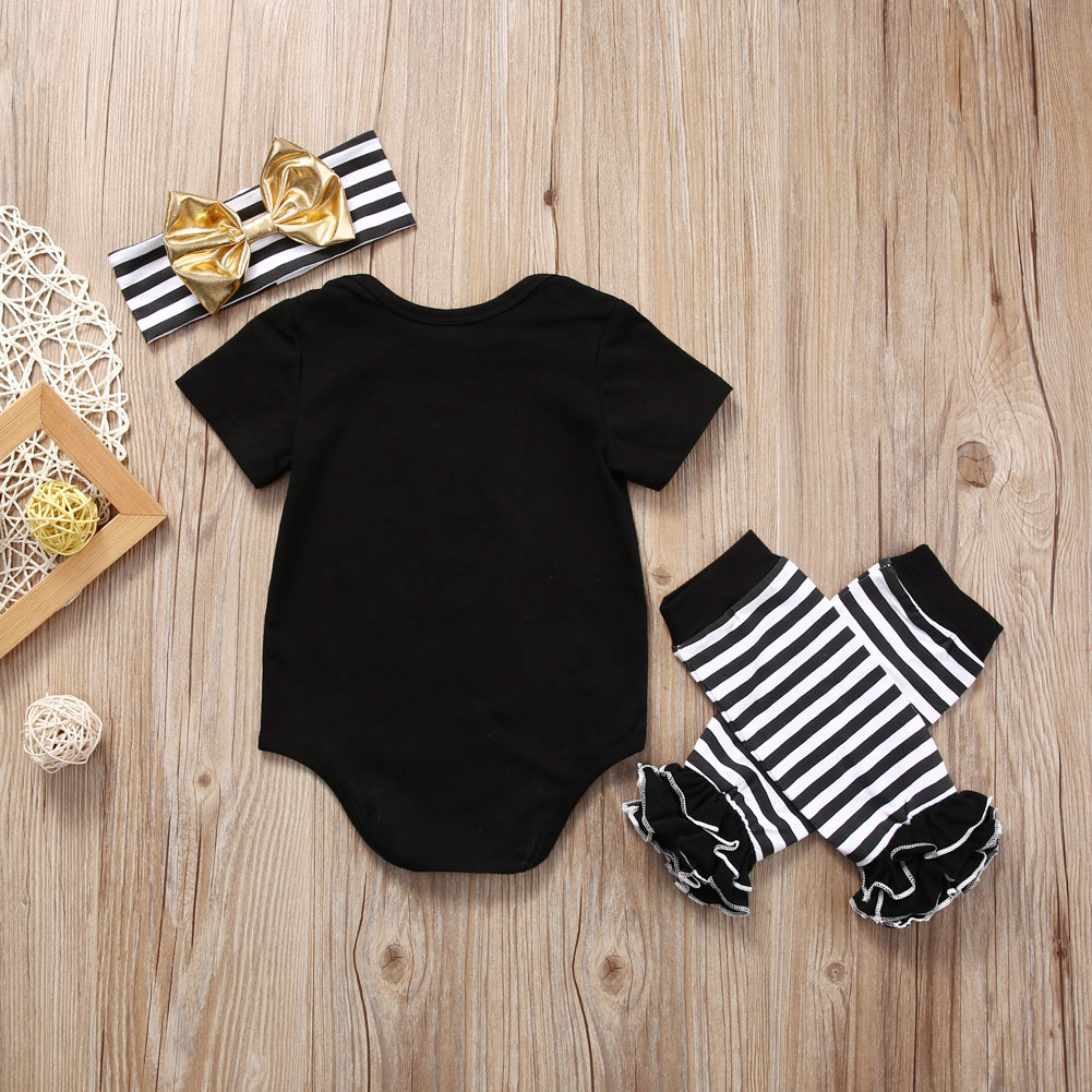 Dad is My Superman Newborn Infant Baby Girls Clothes Short Sleeve Romper Striped Legging Warmer Headwear 3PCS Outfit Clothing 3