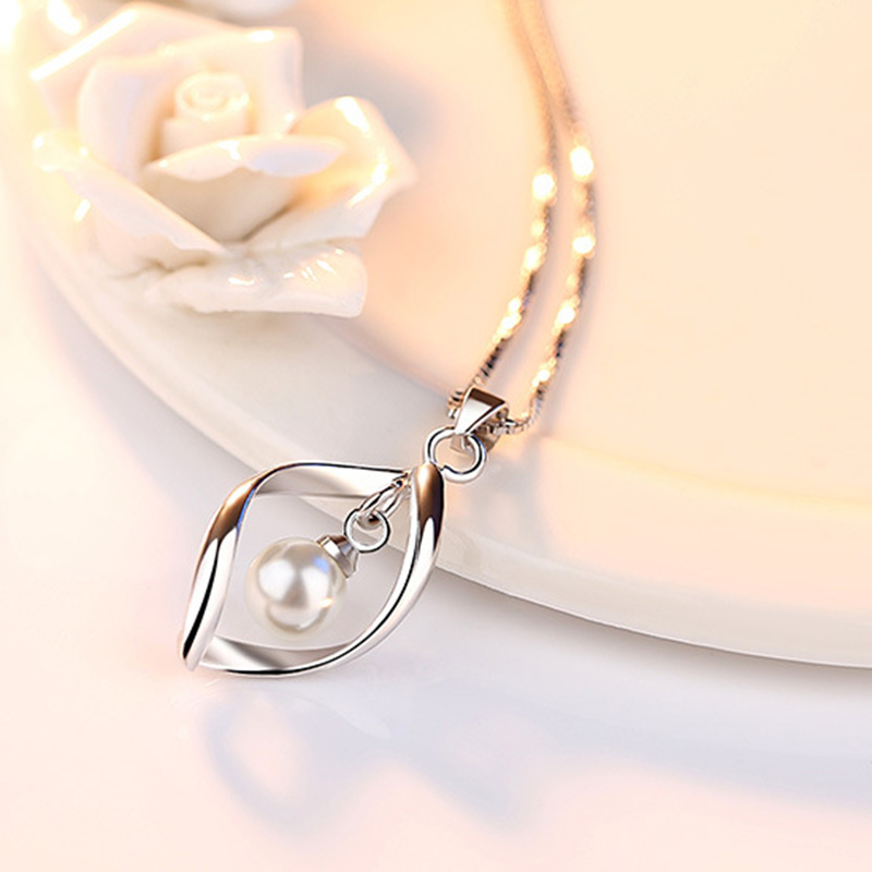 JYouHF Luxury 925 Silver 6mm Simulated Pearl Pendant Necklace Women Collier Femme Long Chain Necklaces Pendants Jewelry Gift in Pendant Necklaces from Jewelry Accessories