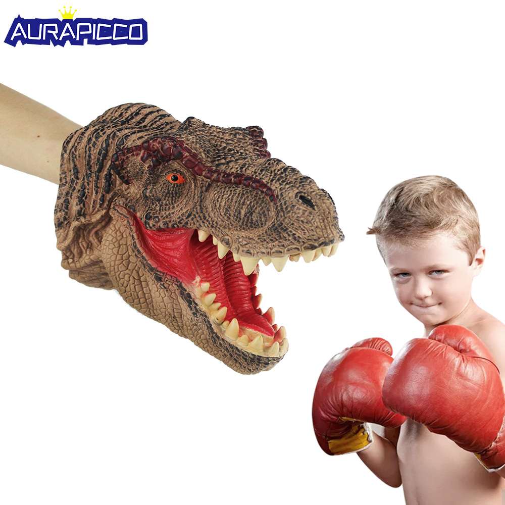 Dinosaur Glove Puppet Soft Vinyl Rubber T-rex Animal Hand Puppet Dinosaur Costume Novetly Glove Halloween Costume For Kids Gift
