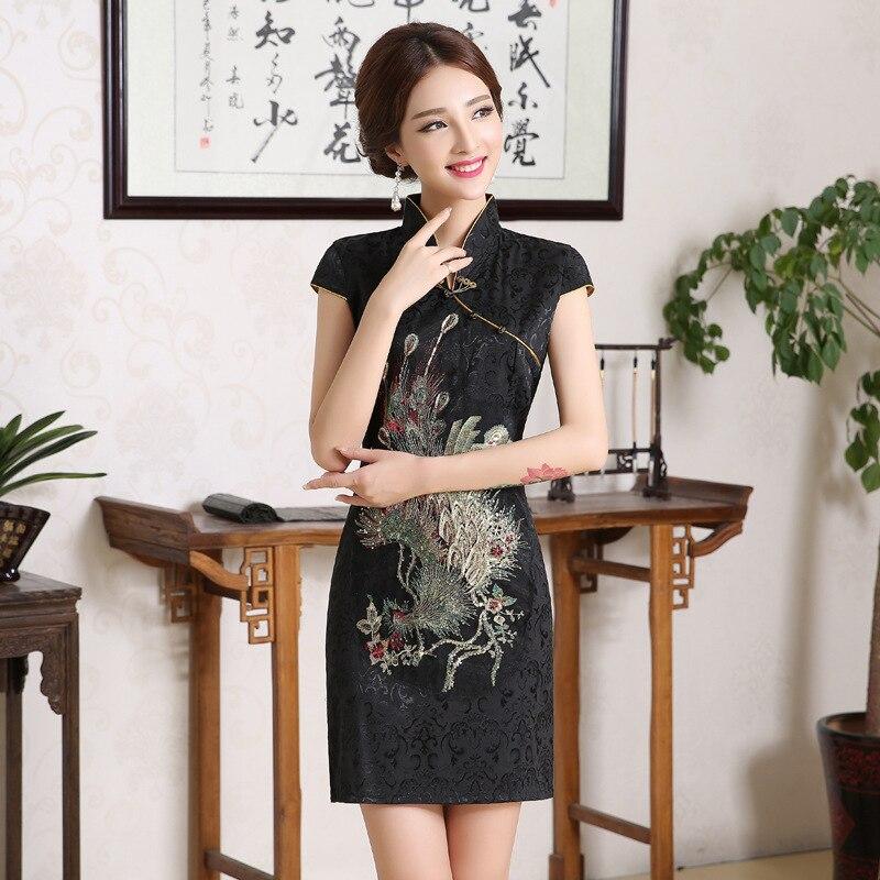 Chinese Women White Flower Wedding Qipao Vintage Mandarin Collar Cotton Mini Cheongsam Plus Size Short Sleeve Evening Dress