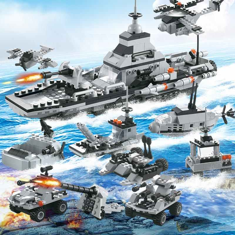 6 in1 Military Warship Tank Aircraft With Army Figures Building Blocks LegoED Army Warship Construction Bricks Toys For Children