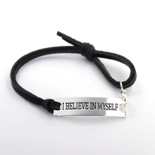 """17CM inspiration quote """"I BELIEVE IN MYSELF"""" silver bracelet with black leather strap,bangles,10pcs/lot, free shipping"""