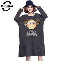 Oladivi Oversized Plus Size Women Dress 2017 Spring Autumn Fashion Printed Casual Dress Ladies Loose Style