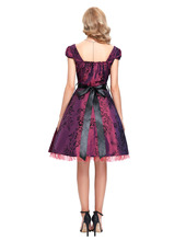 Grey Burgundy Women summer dress 2016 Retro Audrey hepburn Rockabilly dresses Swing Pinup floral printed 40s 50s 60s vestidos