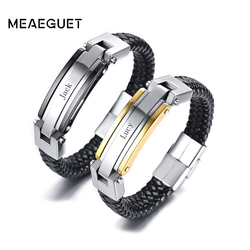 Meaeguet Free Engraving Personalized Stainless Steel Leather Bracelet For Couple Women Men Accessories Bracelet Jewelry stylish rhinestone engraving faith heart bracelet for women