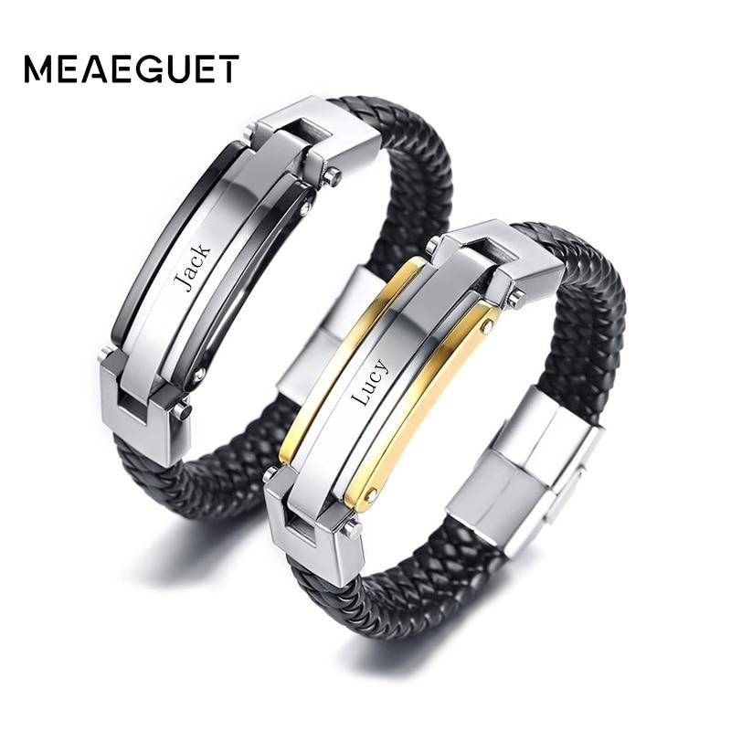 Personalized Stainless Steel Leather Bracelet For Men Women