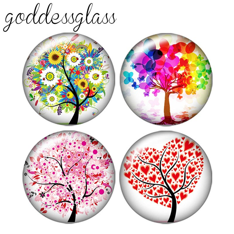 Beauty Tree Of Life 10pcs 12mm/18mm/20mm/25mm Round Photo Glass Cabochon Demo Flat Back Making Findings ZB0435