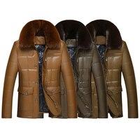 2017 Style Winter Leather Jacket Men S Casual Fashion Jackets Lapel Brown Zipper Faux Fur Men
