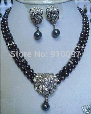 LHX54013>> Belle Noir perle collier boucle d'oreille pendentif ensembles