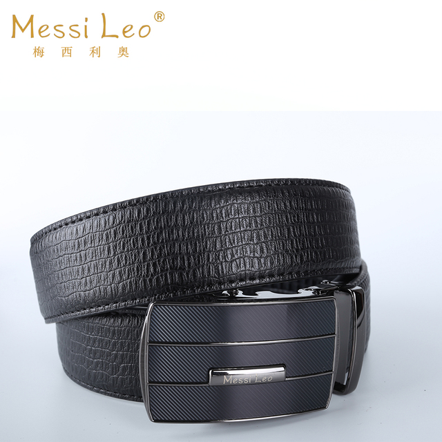 Messi Leo High Quality Man Belts Genuine Leather Belt Cowskin Automatic Buckle Fashion Casual Soild Belt For Men