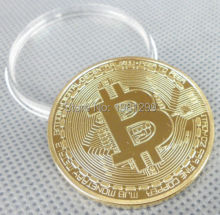 Newest 50PCS/lot free shipping .999 FINE Gold Plated Bit Coin,Coins Clad Coin+Bitcoin BTC coin