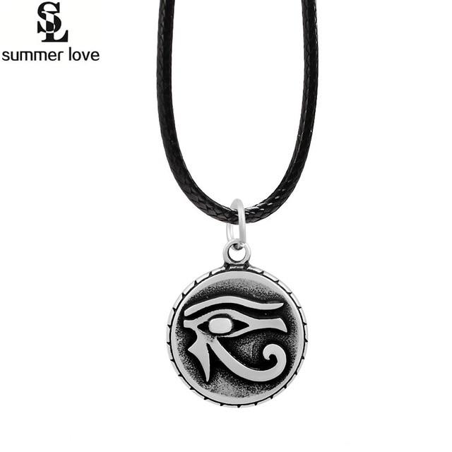 Ankh egyptian amulet horus eye necklace pendants mens vintage black ankh egyptian amulet horus eye necklace pendants mens vintage black leather chain necklace punk retro style aloadofball Gallery