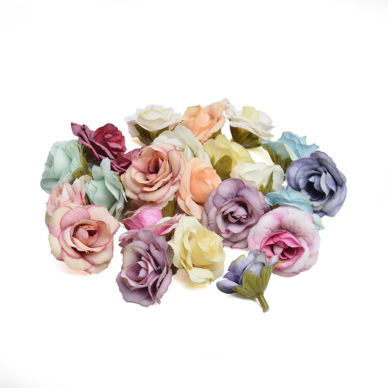 10 pieces 4cm New artificial flower silk rose flower head wedding party home decoration DIY Scrapbooking Wreath Fake Flowers