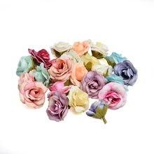 10 peças 4cm nova flor artificial seda rosa flor cabeça festa de casamento decoração para casa diy scrapbooking grinalda flores falsas