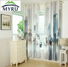 MYRU New Chinese Ink Painting Style Window Curtains City Pattern cloth curtiains for bedroom and living room