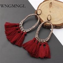 WNGMNGL Handmade Tassels Earrings Bohemia Long Statement Red Gray Coffee Drop For Women Fashion Fringe Jewelry
