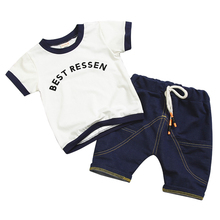 Fashion Summer Children Boys Girls Clothes Kids Cotton Letter T-Shirt Short 2Pcs/Sets Toddler Clothing Sets Infants Tracksuits kids tracksuits 2018 new autumn boys clothes sets letter printed hoodies