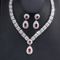 UILZ Luxury Sliver Color Cubic Zircon Necklace Earrings Sets Big Bridal Wedding Jewelry Sets for Elegant Brides US232
