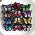 Набор из 120 шт. разноцветных смешанных нашивок с бабочками, наклейка для утюга или пришивания, тканевая наклейка для одежды, вышитая апплика...
