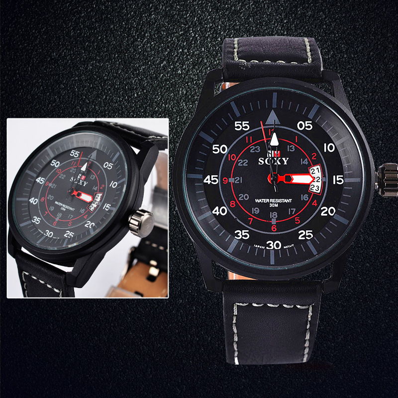 kalender herenhorloge quartz herenhorloges Lederen horloges voor - Herenhorloges - Foto 3