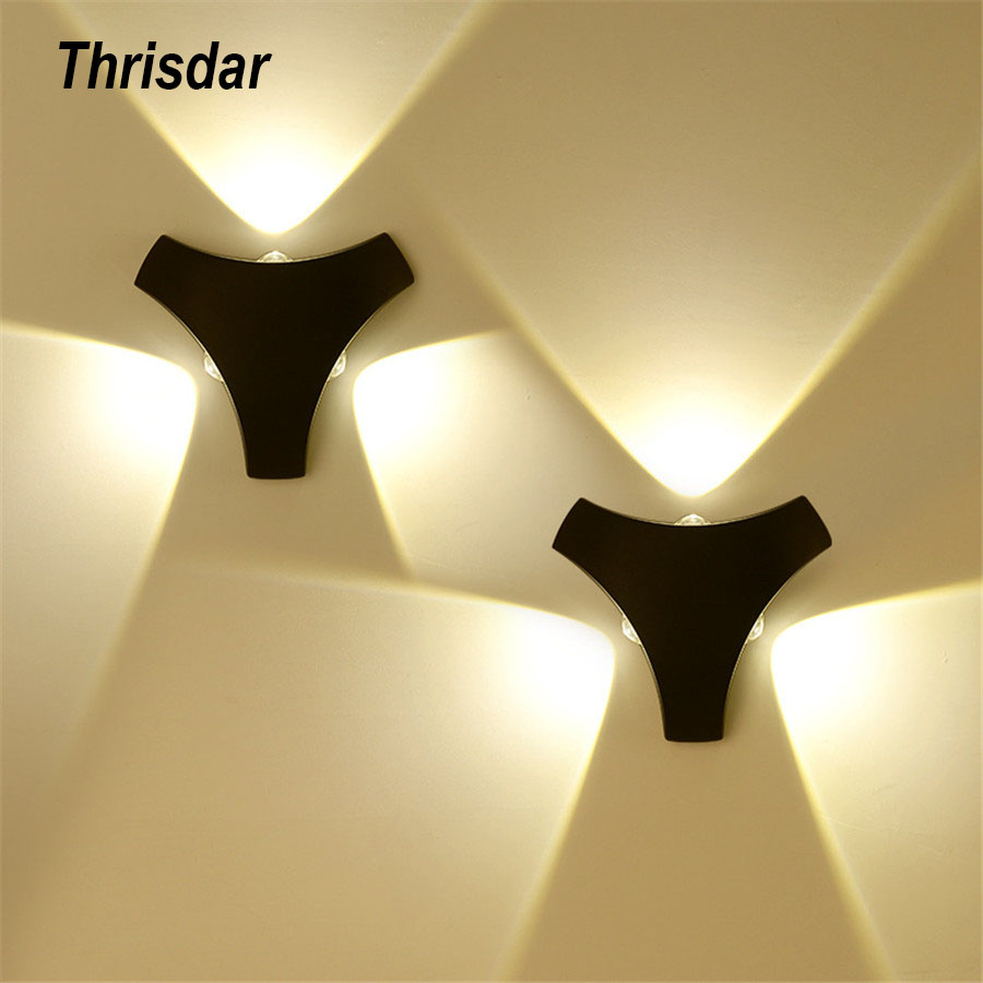 Thrisdar 3W 9W Creative Triangle Wall Lamp Villa Corridor Stairs Hotel Project Light Outdoor Step Aisle Background Light in LED Outdoor Wall Lamps from Lights Lighting