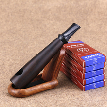 New Cigar Style Smoking Pipe 9mm Filter Wooden Stand Men Cas