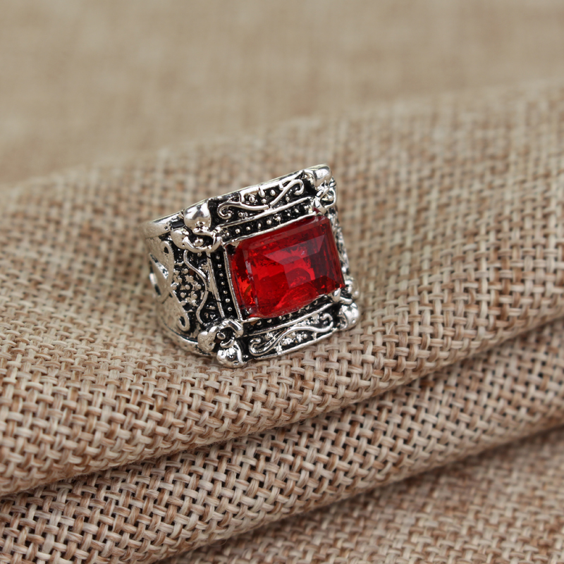 The Mortal Instruments The City of Bones Jewelry Square Red Crystal Vintage Finger Rings for men women accessories