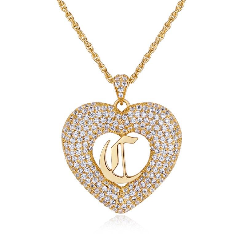 3 UMeter Collana Del Cuore di Amore You pendente con la lettera iniziale della collana sorella inglese font