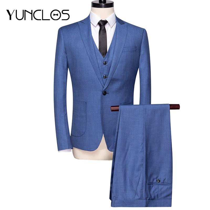 Los Clásico Para Azul 3 Slim Piezas Terno Boda De Yunclos Negocios Formal Hombres  Traje Masculino 2019 vfIn7nwqx 07ad981a7db