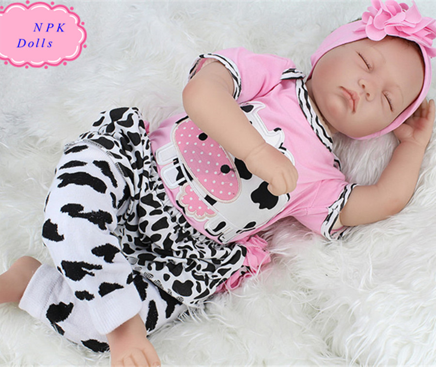 55cm/22Inch NPK Real Silicone Baby Dolls Lifelike Sleeping Cheap Reborn Dolls Toys Girls Dolls Baby Boneca For Child free shipping hot sale real silicon baby dolls 55cm 22inch npk brand lifelike lovely reborn dolls babies toys for children gift