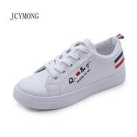 JCYMONG Nieuwe Zomer Mode Vrouwen Casual Sneakers Flats Wit PU Lederen Causale Schoenen Mand Trainers Canvas Chaussure Femme