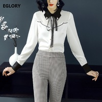 Pearl Bead Button Shirts New Office Blouse Work Women Vintage Black White Color Block Elegant Blouses