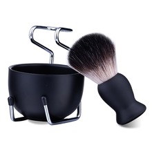 3in1 Man Shaving Soap Brush Set Best Badger Hair + Stainless Steel Bowl Mug Stand Holder Fit most shave cream