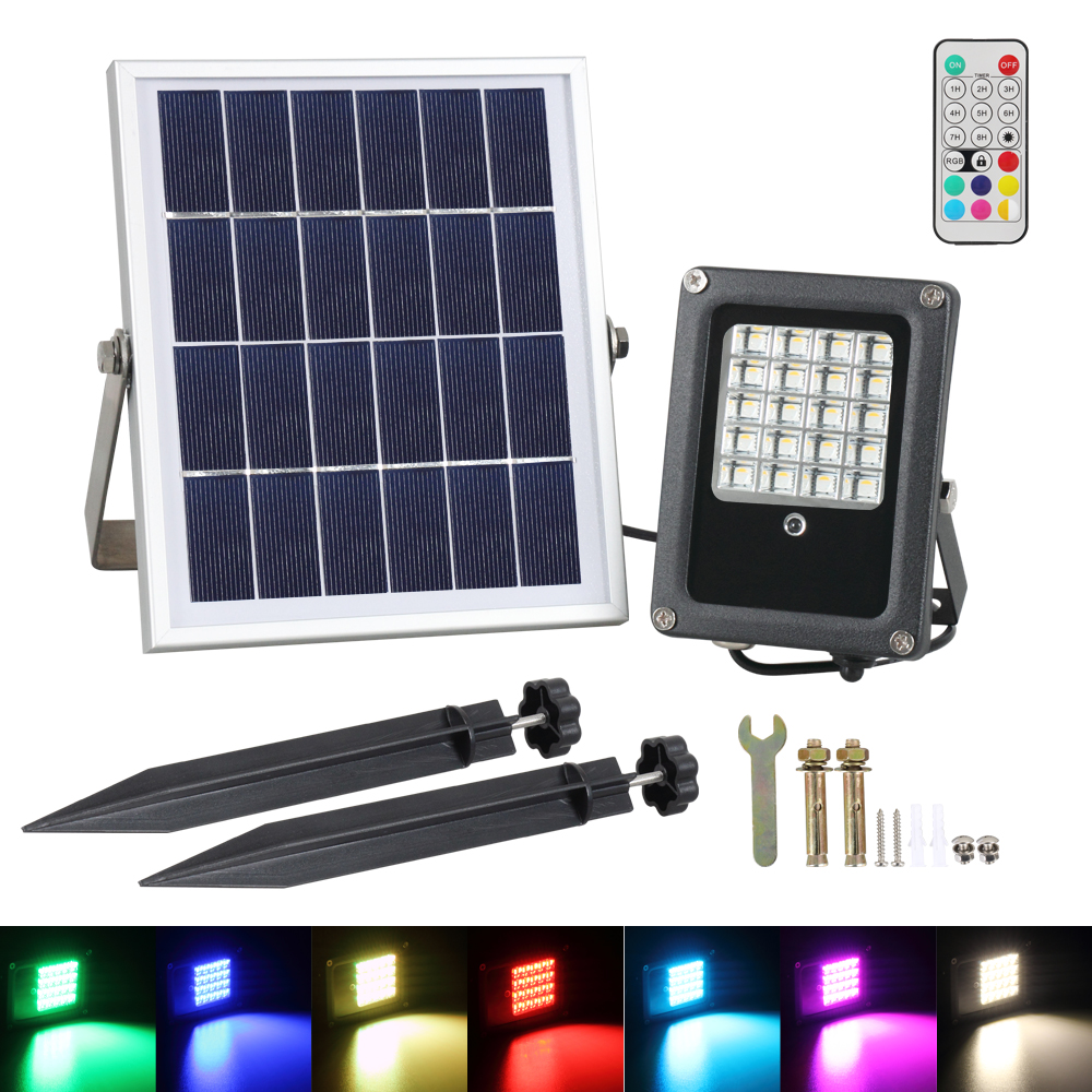 T-SUNRISE Solar Flood Light 10W RGB Utomhusbelysning Vattentät IP65 LED Flood Light med Solar Panel LED Spotlights Garden Lamp