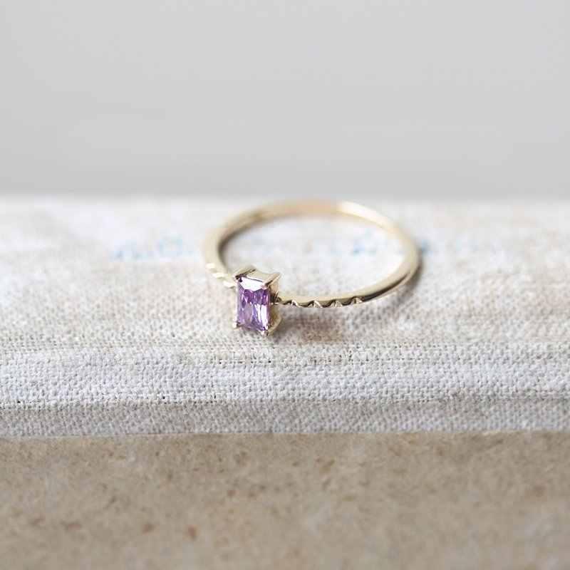 Tisonliz Dainty สีม่วงรูปสี่เหลี่ยมผืนผ้าคริสตัลแหวนสำหรับผู้หญิงงานแต่งงานแหวนหมั้นคนรักแหวนแฟชั่นเครื่องประดับ