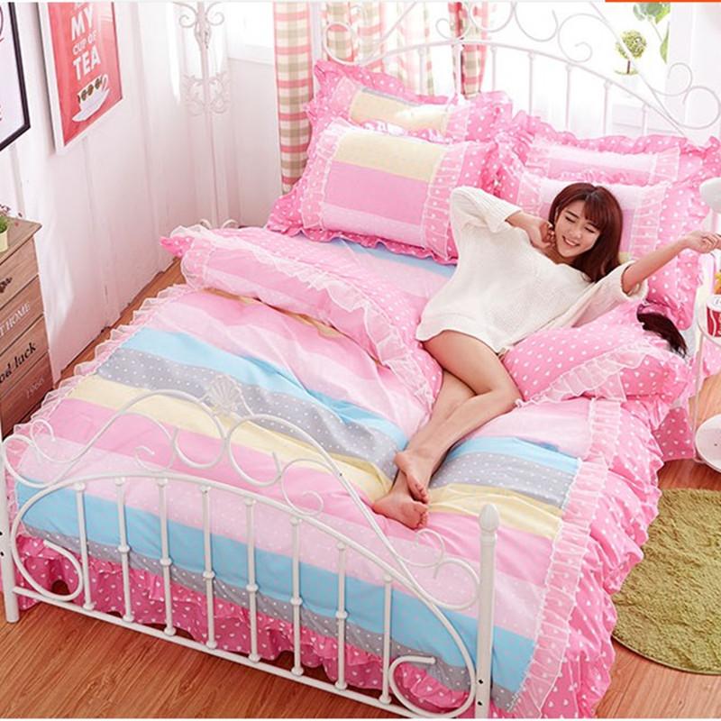 algodn ropa de cama de encaje princesa juegos de cama edredn conjunto funda nrdica